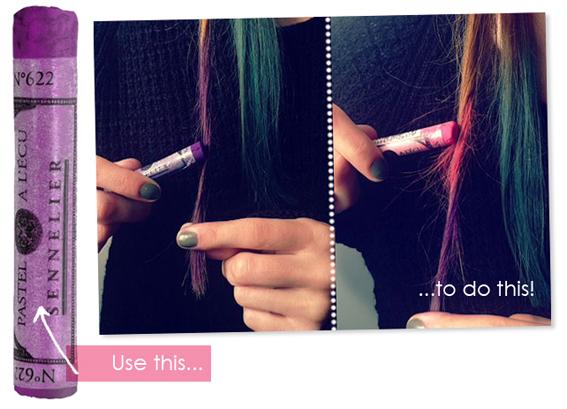 Chalk-streaked hair (from I Love Green Inspiration)